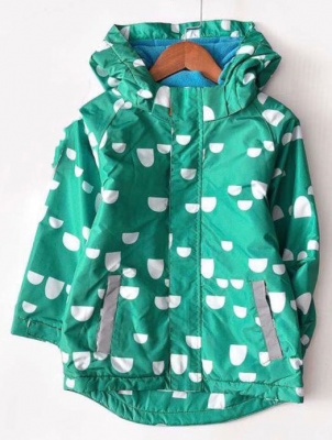 J01-Kids Pattern Waterproof Jacket - Green