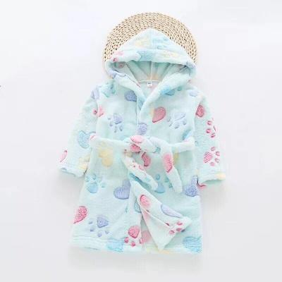 G01 Kids Paw Dressing Gown - Aqua