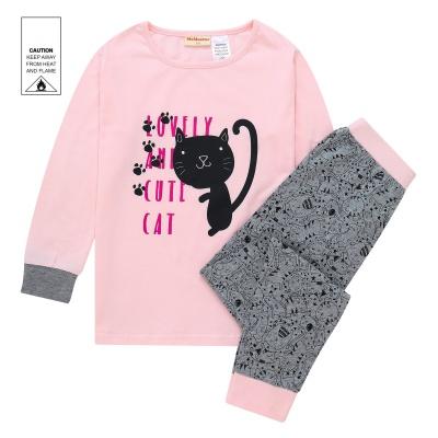 AW1941 Junior Girls Cat Pyjama Set - Pink
