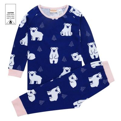 AW1926 Baby Girls Polar Bear Pyjama Set - Navy