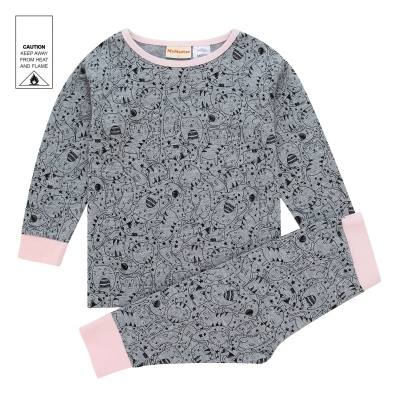AW1925 Baby Girls Cat Pyjama Set - Grey Marle