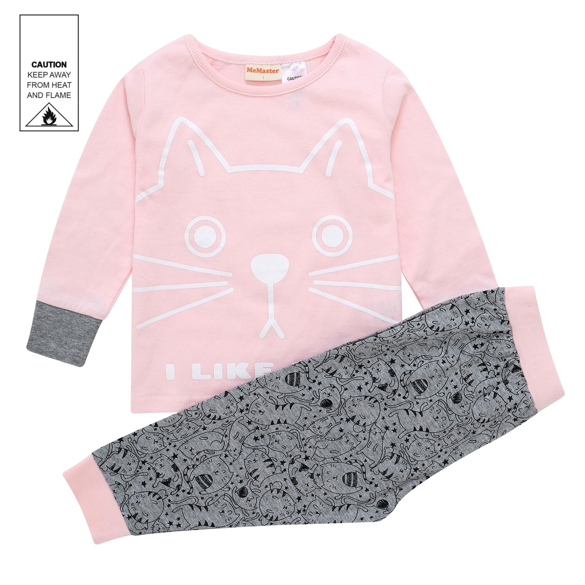 AW1921 Baby Girls Cat Pyjama Set - Pink