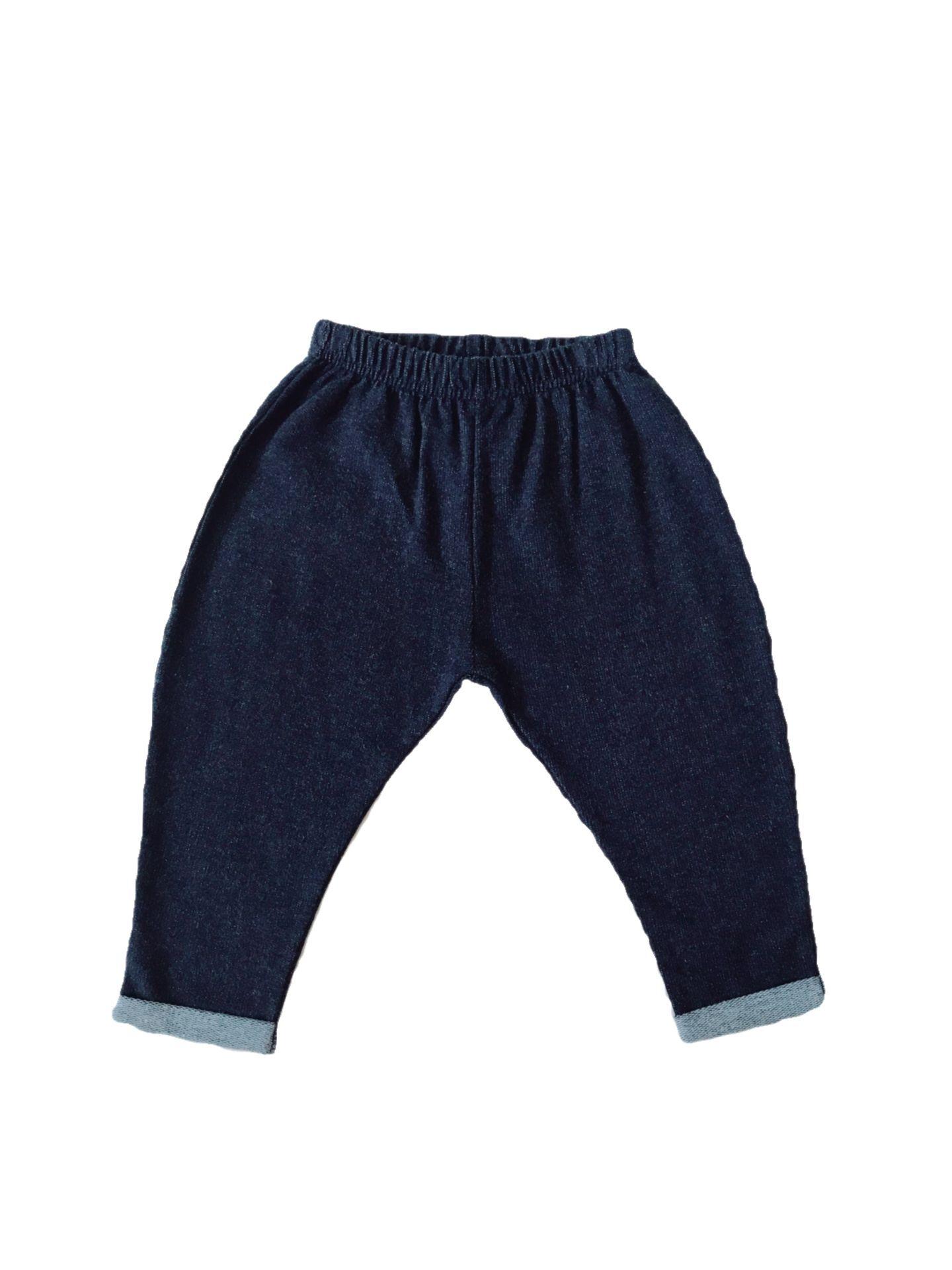 BABY DROP CROTCH DENIM TERRY PANTS