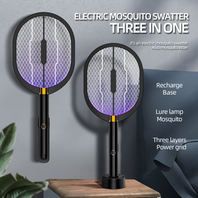 Multifunction Rechargeable Mosquito, Fly Killer and Bug Zapper Racket with Purple Light Attractant