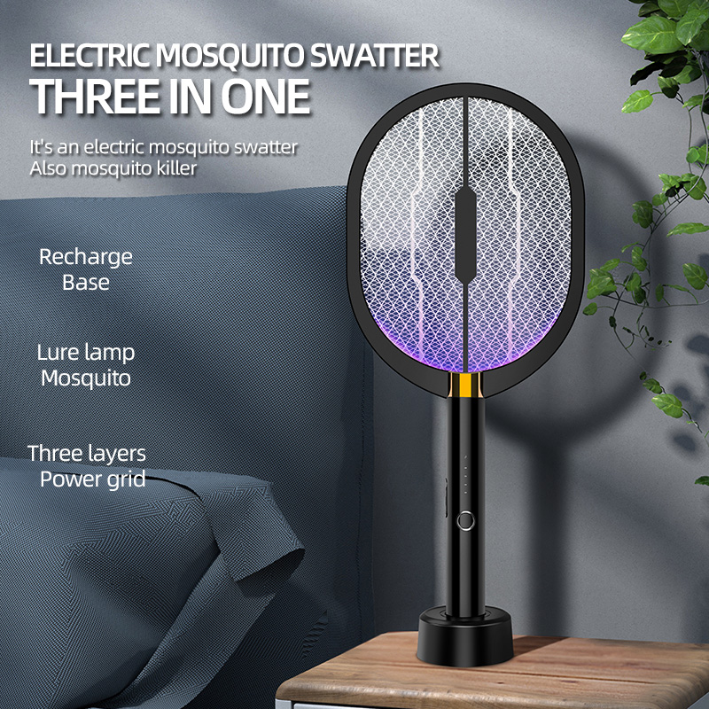 Multifunction Rechargeable Mosquito Swatter, Bug Zapper Racket with Purple Light Attractant