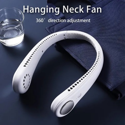 Portable Rechargeable New Mini Hanging Neck Fan with Micro USB Leafless Fan