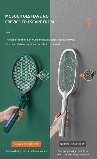 2 in 1 USB Rechargeable Mosquito Killer Racket Electric Mosquito Swatter 1200mAh