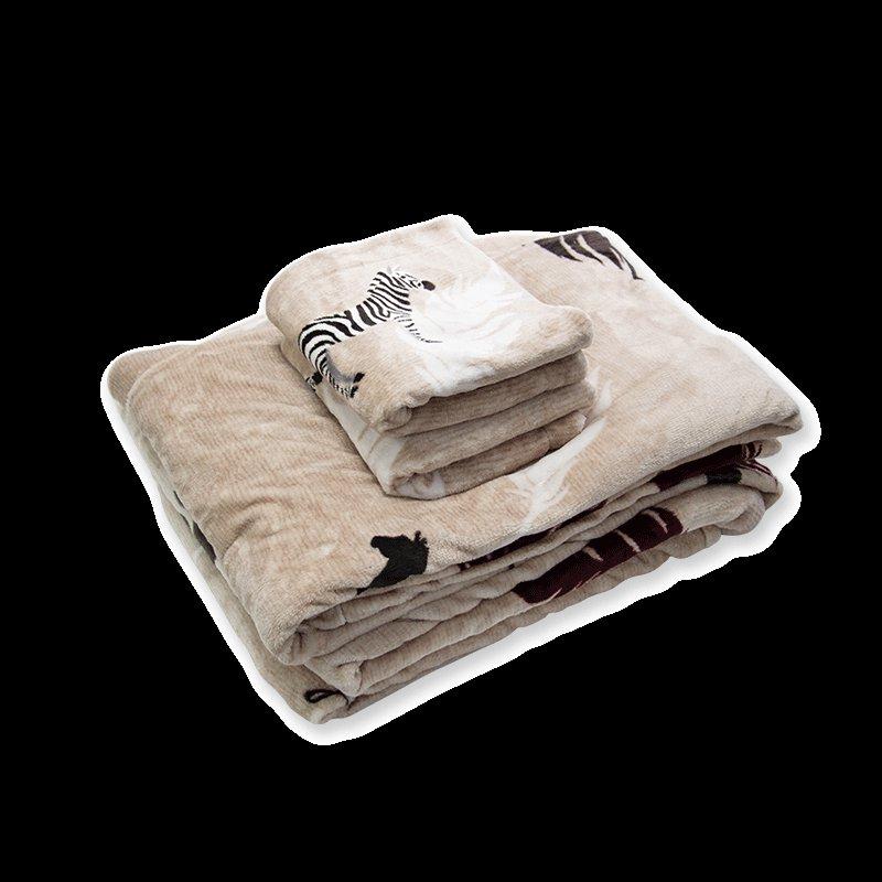 斑马珊瑚绒印花四件套