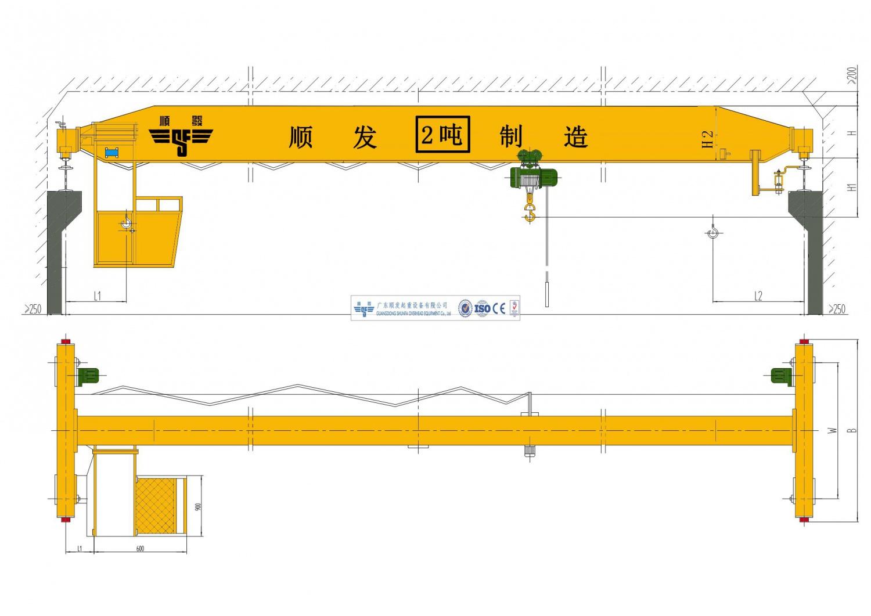 2吨/2t单梁桥式起重机(2吨天车、2吨行吊、2吨行车)