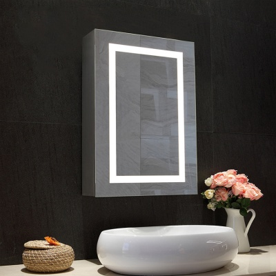 High Quality Mounted Aluminum Illuminated Bathroom/Kitchen Cabinet With Mirror