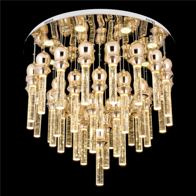 Modern indoor high ceilings round led crystal pendant bubble lights
