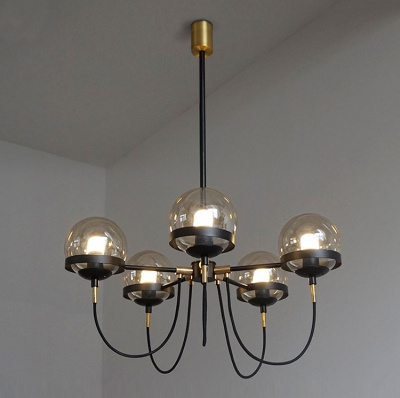 Nordic Modern Design Magic Bean Black And Bronze Color Iron Glass Ball Chandelier  MD-2B056
