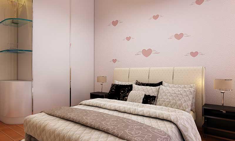 这是贝壳粉卧室背景墙图片