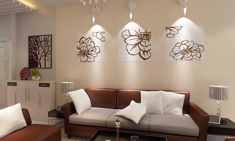 贝壳粉涂料沙发墙效果图