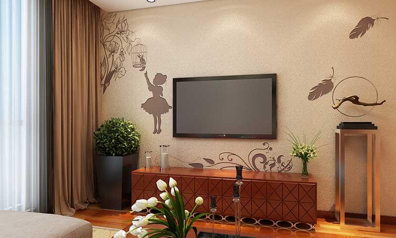贝壳粉涂料电视背景墙