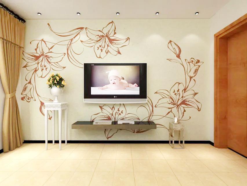 这是贝壳粉电视背景墙