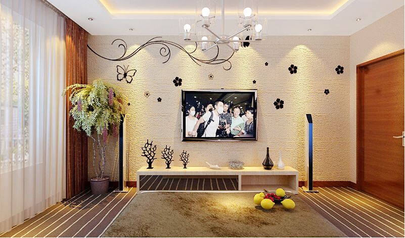 这是贝壳粉的电视背景墙图片
