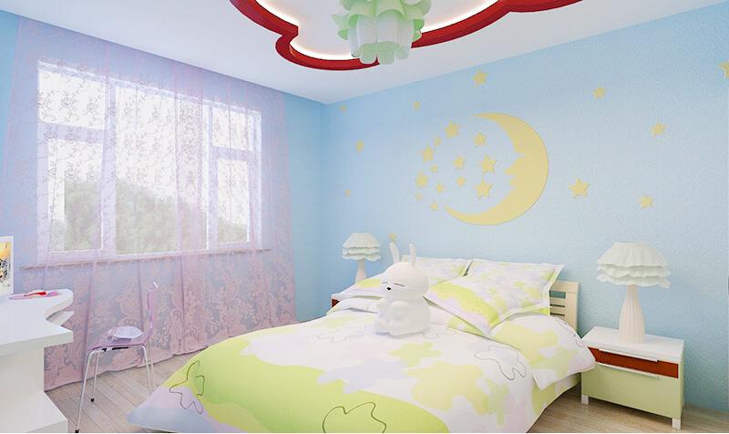 这是贝壳粉儿童房女孩图案