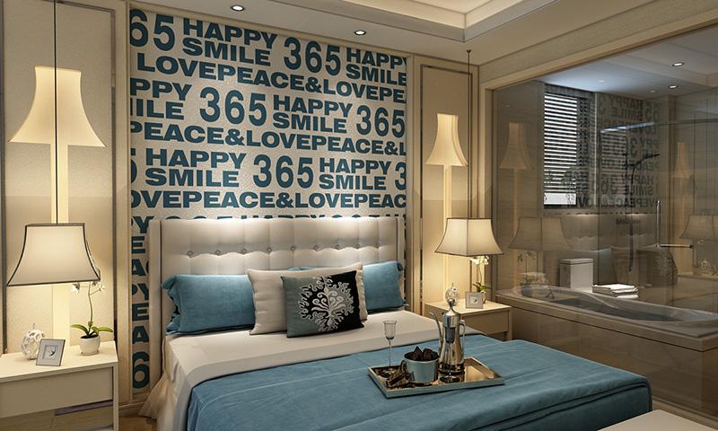 贝壳粉卧室床头图案1