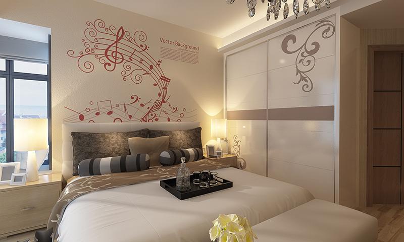 贝壳粉卧室床头图案5