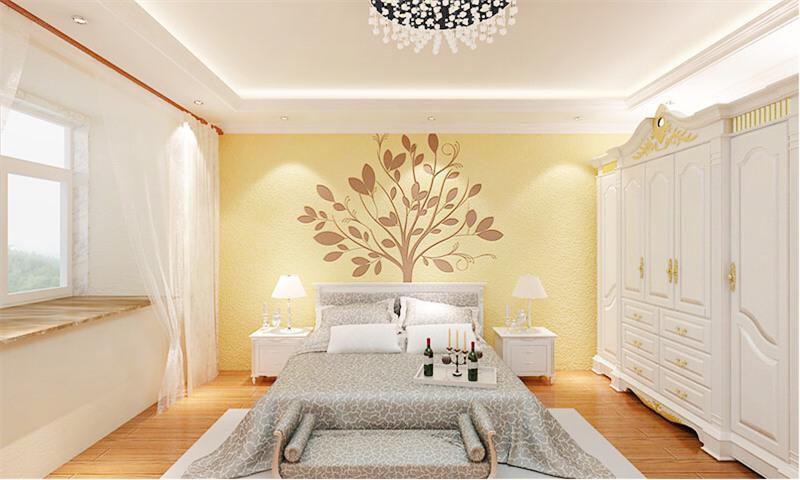 贝壳粉卧室床头图案