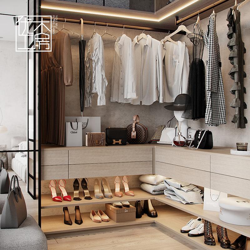 杭州全屋定制衣柜整体衣帽间家具定做极简原木色进口克诺斯邦