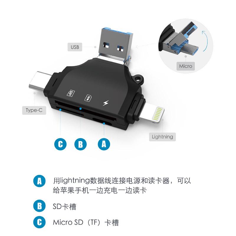 烈果苹果手机XRS11安卓电脑typec多功能读卡器SD卡单反相机TF华为