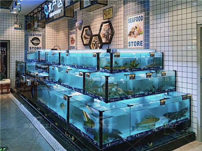 广西超市海鲜鱼缸,海鲜池厂家设计定制