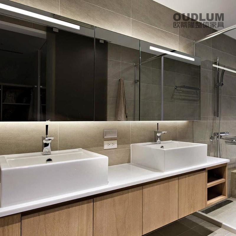 WYG1901.全屋装修定制 挂壁式 免拉手设计 台上盆卫浴柜