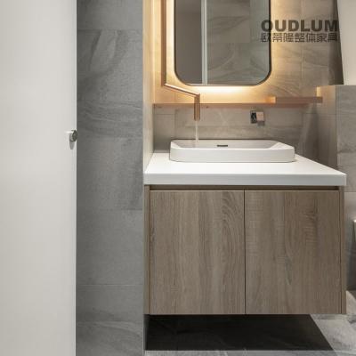 WYG1907.全屋装修定制 免拉手设计 双饰面木纹对开门 台上盆卫浴柜