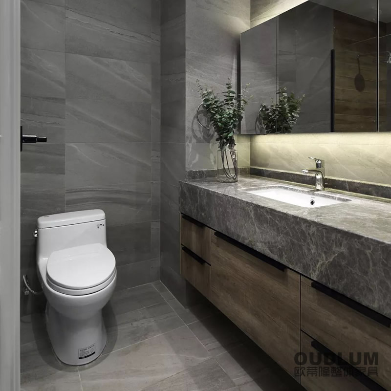 WYG1906.全屋装修定制 挂壁式 木纹饰面门板 加宽翻边台下盆卫浴柜