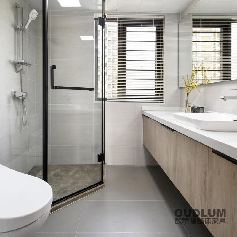 WYG1905.全屋装修定制 挂壁式 台上盆 木纹双饰面门卫浴柜