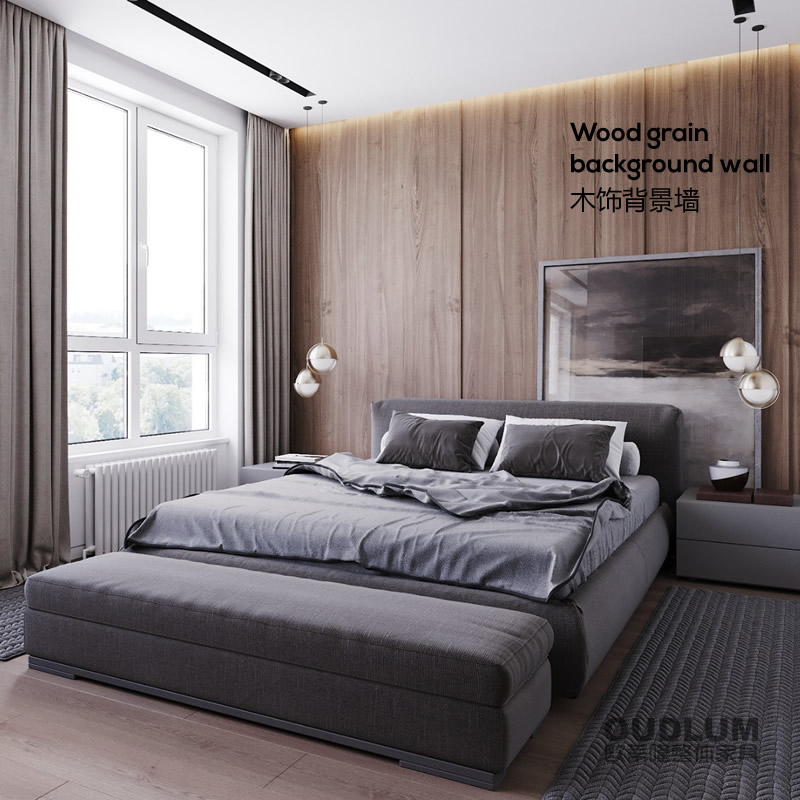 国产&进口双饰面 卧室平面背景墙护墙板 HQB02