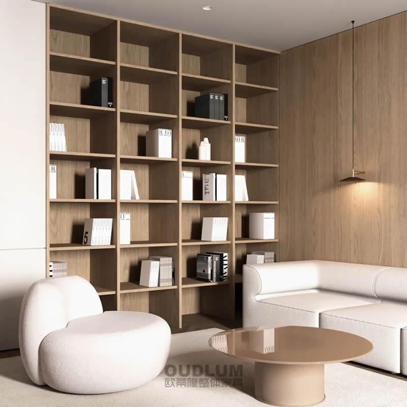 现代极简 餐客厅书柜+木饰面护墙板组合