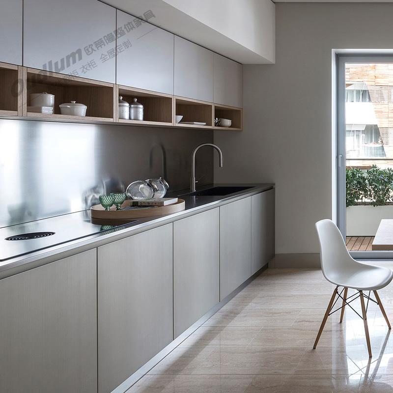 CG113整体厨房橱柜 纯色超哑+木饰面 欧蒂隆.OUDLUM 全屋定制