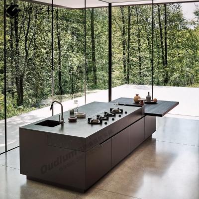 CG601整体厨房橱柜 中岛 纯色超哑+木饰面 欧蒂隆.OUDLUM 全屋定制