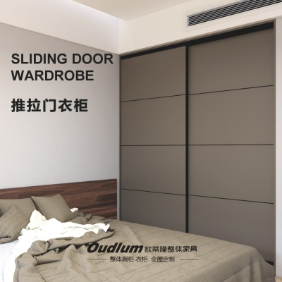 现代简约推拉门整体大衣柜卧室木质收纳衣橱