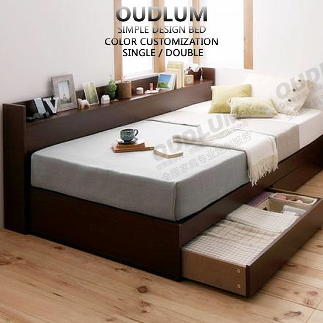 欧蒂隆日式家具板式床1.2米单人床抽屉床榻榻米储物床R11063
