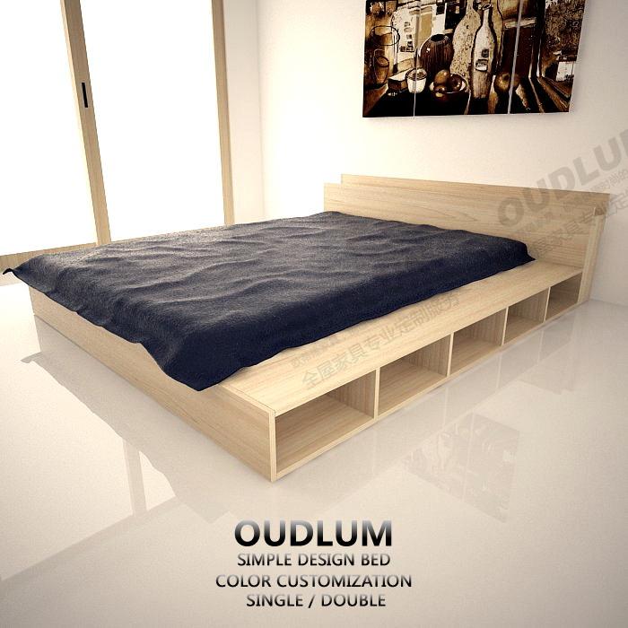 日式家具板式床榻榻米1.2米架子床1.5米1.8米双人床R11065A