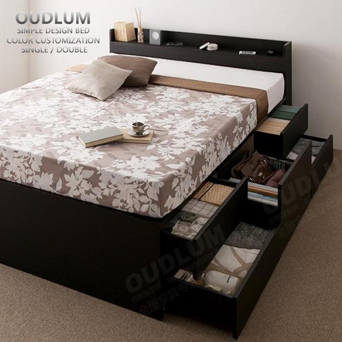 创意板式床定制抽屉床日式大箱体收纳双人床储物高箱床包邮R616F