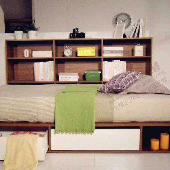 欧蒂隆卧室床定制榻榻米储物收纳床带抽屉书架单人日式床包邮R101