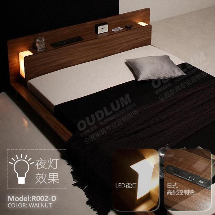 日式矮床榻榻米床卧室现代简约多功能1.8米板式床双人床R002D