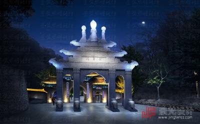 门牌古建照明设计夜景效果图