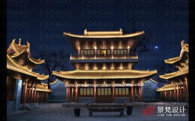 景区寺庙夜景亮化设计