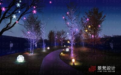 小区植物夜景效果