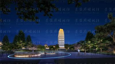 古建筑塔楼夜景亮化设计效果图