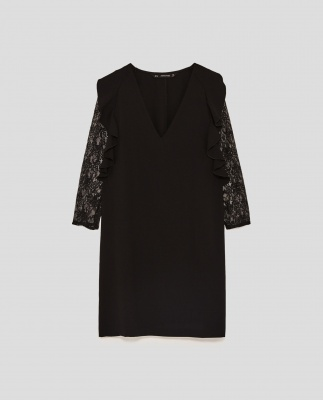Chiffon Dress with lace sleeve