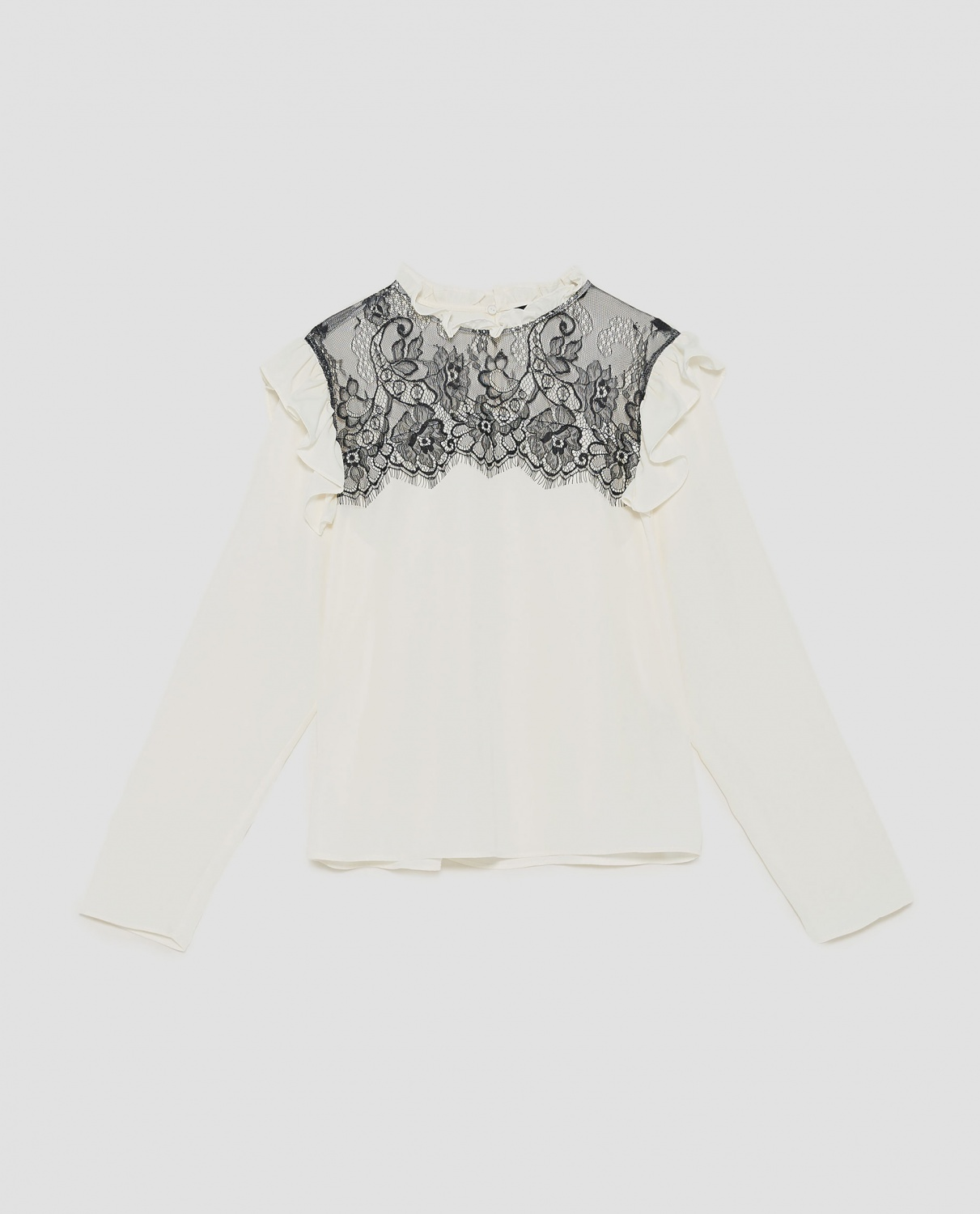 Chiffon Blouse with lace contrast