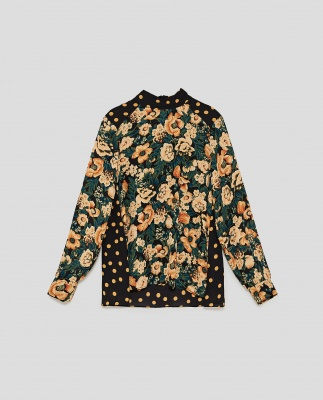 Floral Print top with dot print contrast