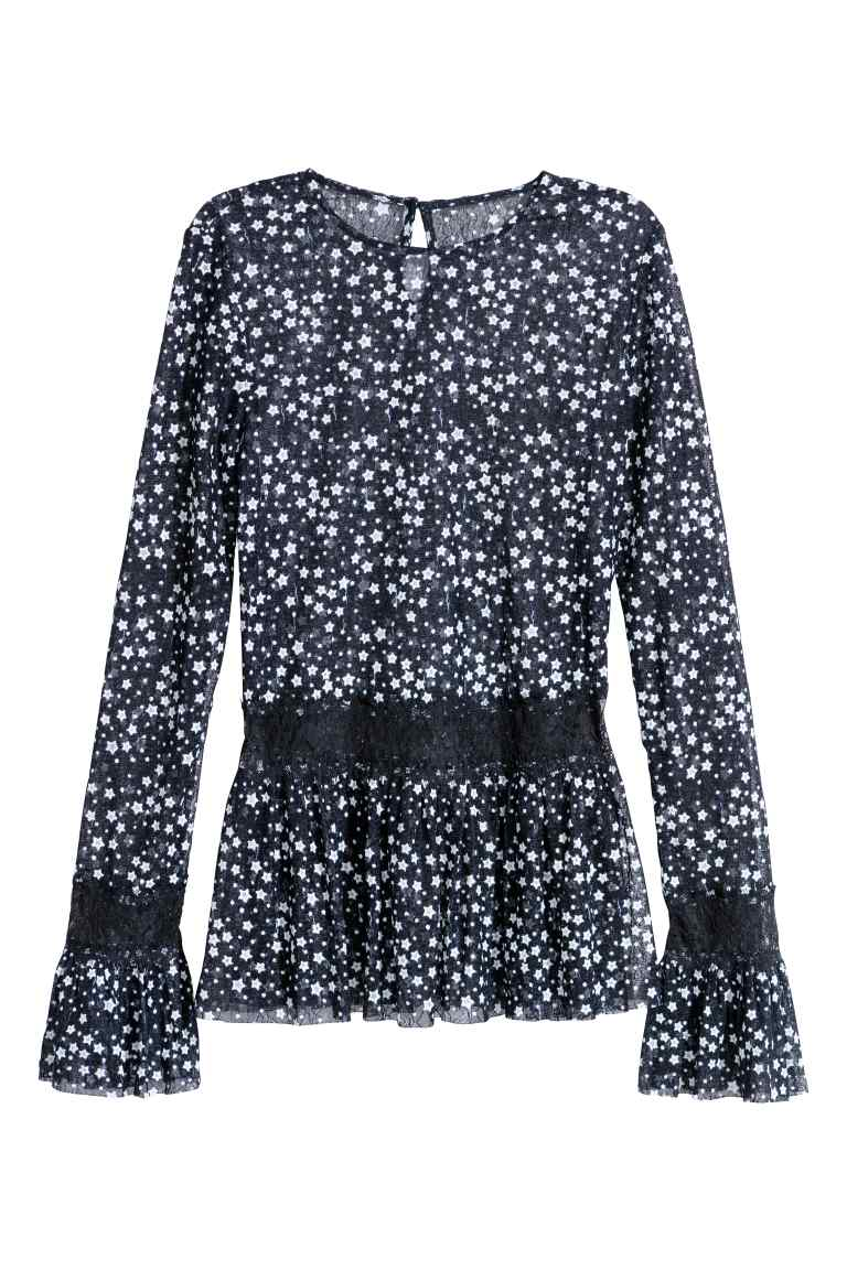 Star Blouse with lace contrast